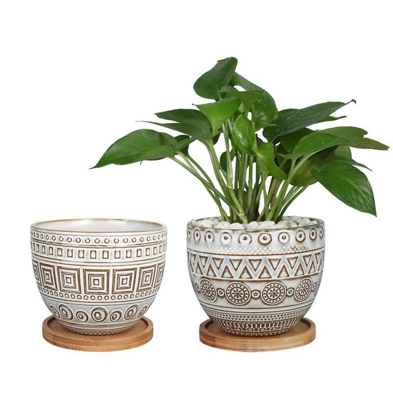 Wholesale Plant Pots, 5-5in Geometric Planters Ceramic Pots