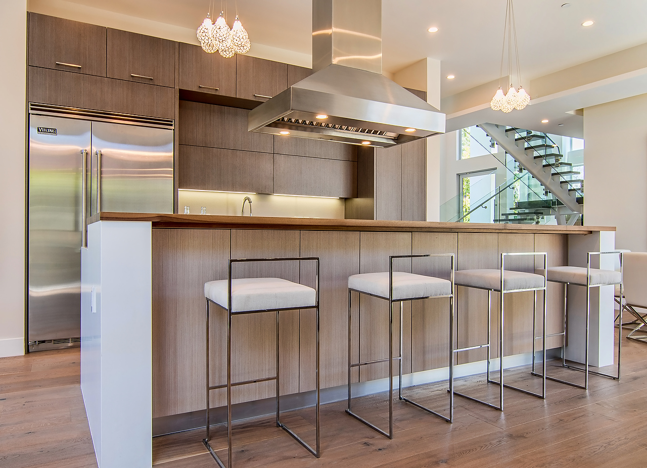 """""""Two Lines"""" shaped kitchen cabinet with island Wood Veneer ..."""
